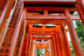 Torii gates of fushimi inari shrine in kyoto japan taisha is a shinto located ku shallow depth field focus on both sides the doors Royalty Free Stock Photo