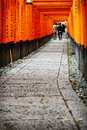 Torii gates of fushimi inari shrine in kyoto japan taisha is a shinto located ku shallow depth field focus on both sides the doors Royalty Free Stock Images