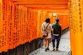 Torii gates of fushimi inari shrine in kyoto japan taisha is a shinto located ku shallow depth field focus on both sides the doors Stock Images