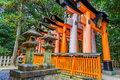 Torii gates at fushimi inari shrine in kyoto the main structure was built reachable by a path lined with thousands of Stock Photography