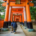 Torii gates at fushimi inari shrine in kyoto the main structure was built reachable by a path lined with thousands of Royalty Free Stock Photography