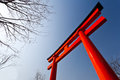 Torii japanese gate on blue sky Stock Photo
