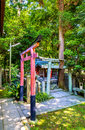 Torii at Shirakumo Shrine in Kyoto Gyoen National Garden Royalty Free Stock Photo