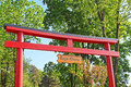 Torii in a stylized Japanese garden in Kyiv Royalty Free Stock Photo