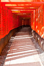 Torii tunnal at fushimi inari taisha shrine orange gates in kyoto japan Stock Images