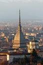 Torino turin panorama cappuccini mole piedmont italy Stock Photography