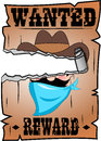 Torn cartoon wanted poster with bandit face of fat cowboy light blue bandanna and hat isolated on white background eps file is Royalty Free Stock Photos