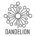 Torn dandelion logo icon, simple style.