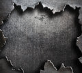 Torn metal with big ripped hole Royalty Free Stock Photo