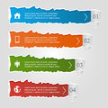 Torn paper colored infographic banners numbered options and icons modern design Stock Photos