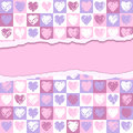 Torn paper a square hearts valentine background Royalty Free Stock Photos