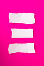 Torn pieces of paper collection white on pink background ready for your messages Royalty Free Stock Image
