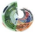 Tornado of colorful euro isolated, savings wealth Stock Photos