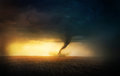 Tornado sunset a in a field at Royalty Free Stock Images