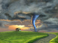 Tornado sweeping through a country landscape at sunset digital illustration Stock Image