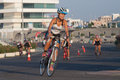Toro loco valencia triathlon spain september athlete competing in the cycling section of the womem s Royalty Free Stock Images