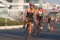 Toro loco valencia triathlon spain september athletes competing in the cycling section of the womem s Royalty Free Stock Photography