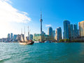 Toronto city skyline from the ferry travels to center island, Toronto, Canada Royalty Free Stock Photo