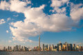 Toronto city skyline at under blue sky view of with over ontario lake Stock Images