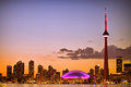 Toronto cityscape view of during sunset Royalty Free Stock Images