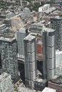Toronto financial district aerial view from CN tower Royalty Free Stock Photo