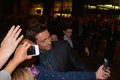 Toronto international film festival september actor hugh jackman takes a selfie with fans at the for his new Stock Photo