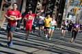Toronto marathon may runners pass through the bridge more than runners and walkers take part in the th annual goodlife fitness Royalty Free Stock Image