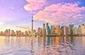 Toronto skyline at dusk Royalty Free Stock Photo