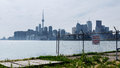 Toronto skyline from the ports hazy canada on a summer afternoon as seen area Royalty Free Stock Images