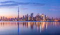 Toronto Skyline with purple light - Toronto, Ontario, Canada Royalty Free Stock Photo