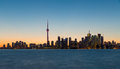Toronto skyline after sunset canada Royalty Free Stock Image