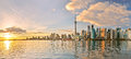 Toronto skyline at sunset in Ontario, Canada. Royalty Free Stock Photo