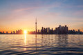 Toronto skyline during sunset with the reflection in the lake Stock Image