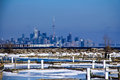 Toronto skyline winter distance the canada as seen from port credit mississauga ontario canada shot from a with natural hazy Stock Photos