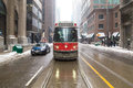 Toronto streetcar in the winter canada nd february front of a typical during people can be seen Stock Photos