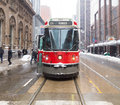 Toronto streetcar in the winter canada nd february front of a typical during people can be seen Royalty Free Stock Photography