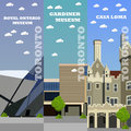 Toronto tourist landmark banners. Vector illustration with Canada famous buildings Royalty Free Stock Photo