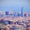 Torre agbar in barcelona designed by famous architect jean nouvel catalonia spain Royalty Free Stock Images