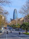 Torre agbar in barcelona designed by famous architect jean nouvel catalonia spain Royalty Free Stock Photo