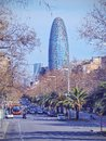 Torre agbar in barcelona designed by famous architect jean nouvel catalonia spain Stock Photo