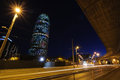 Torre Agbar illuminated at night. Barcelona, Spain. Stock Images
