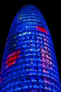 Torre Agbar Tower in Barcelona, Spain Stock Photos
