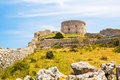 Torre d'en penjat fort scenery uncared at menorca spain Stock Image