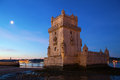 Torre de belem in lisbon portugal at dawn Royalty Free Stock Photos