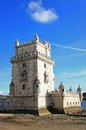 Torre de belem portugal lisbon displaying manueline architecture with bright blue sky Royalty Free Stock Images