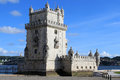 Torre de belem portugal lisbon displaying manueline architecture with bright blue sky Royalty Free Stock Photography