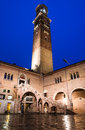 Torre dei lamberti and courtyard of the law court palazzo della ragione both from th century verona italy Stock Images