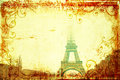 Torre Eiffel no inverno no fundo do grunge Foto de Stock Royalty Free