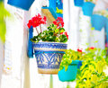 Torremolinos costa del sol andalucia typical white villag traditional village with flower pots in spains facads beauty flower pots Stock Photos