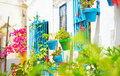 Torremolinos costa del sol andalucia white village traditional with flower pots in facades at spain beautiful street decorated Stock Photography